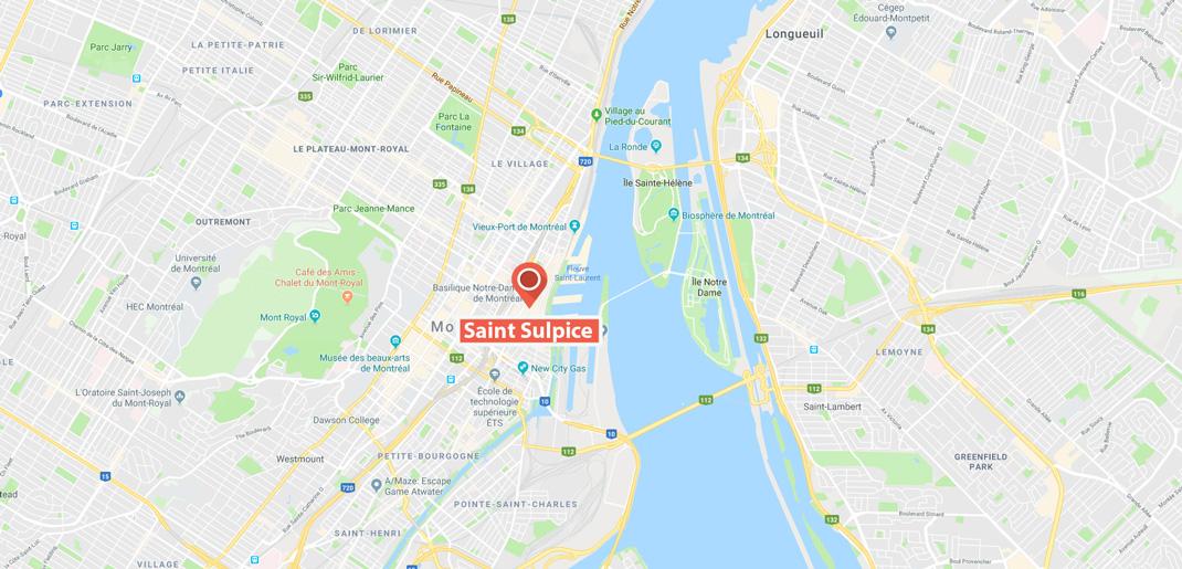 Localisation Saint-Sulpice Montréal
