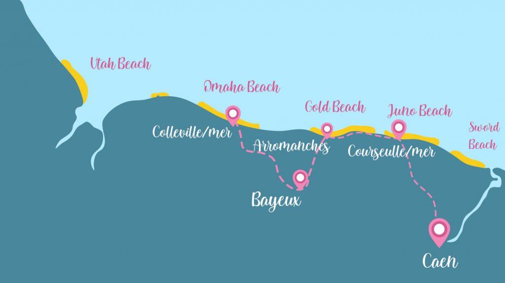 itinéraire plage débarquement 3 jours