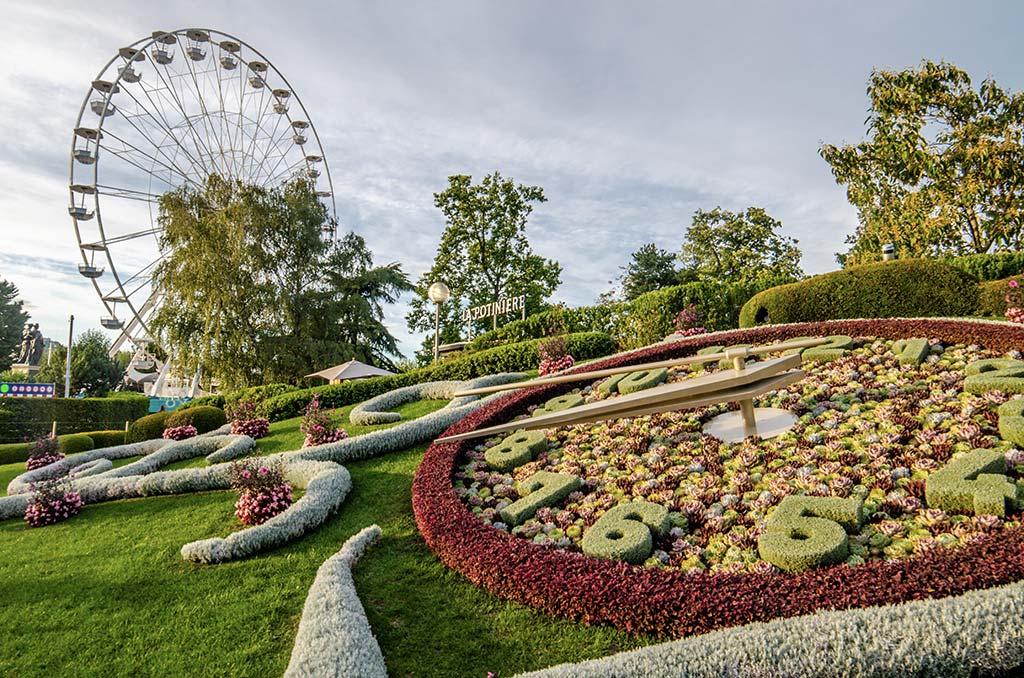Jardin des Anglais Genève - Horloge Fleurie