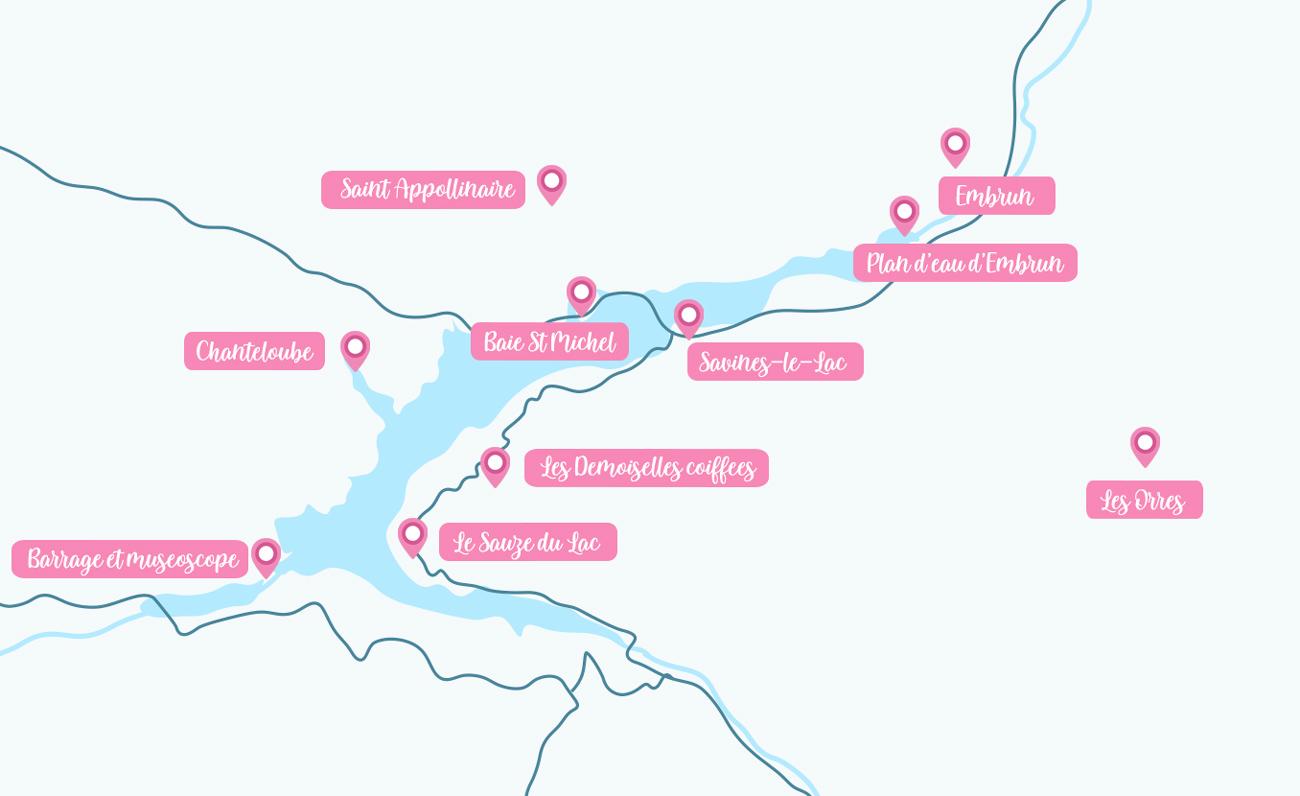 Carte des activités à faire autour de Serre-Ponçon